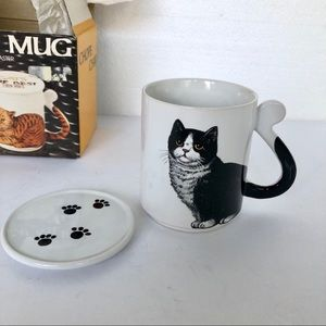 VTG NIB Deadstock B&W Cat Mug Made in Japan 1986
